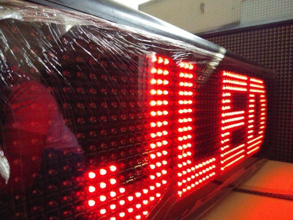 ป้ายไฟวิ่ง red single color จอled scrolling sign jled best ป้ายไฟ